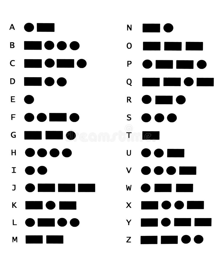 Morse code. Circles and rectangles symbolizing the morse code stock photography