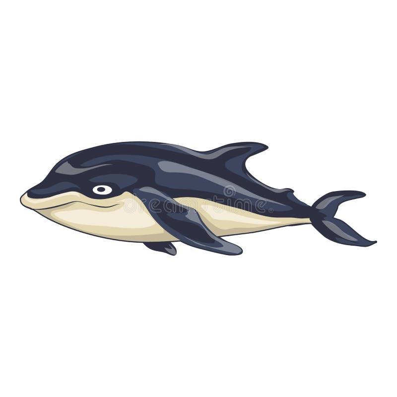 Morska delfin ikona, kresk?wka styl ilustracja wektor