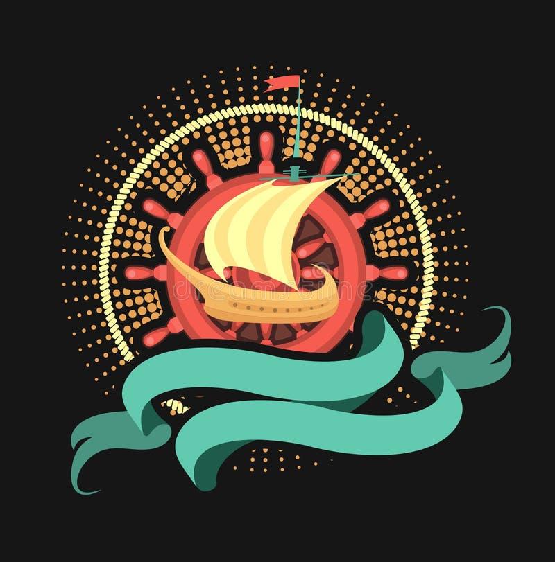Morska emblemat żaglówka royalty ilustracja