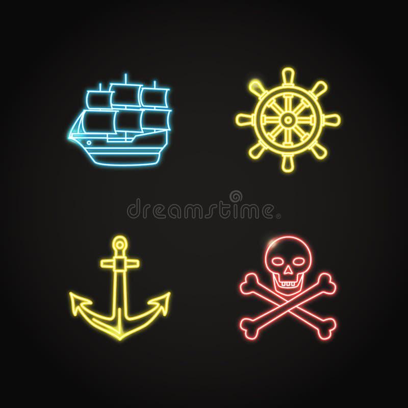 Morska kolekcja pirat i nautyczne ikony w rozjarzonym neonowym stylu ilustracji