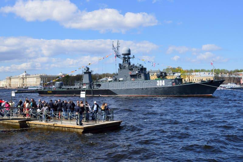 Morska parada dedykująca zwycięstwo dzień w St Petersburg, Rosja fotografia stock