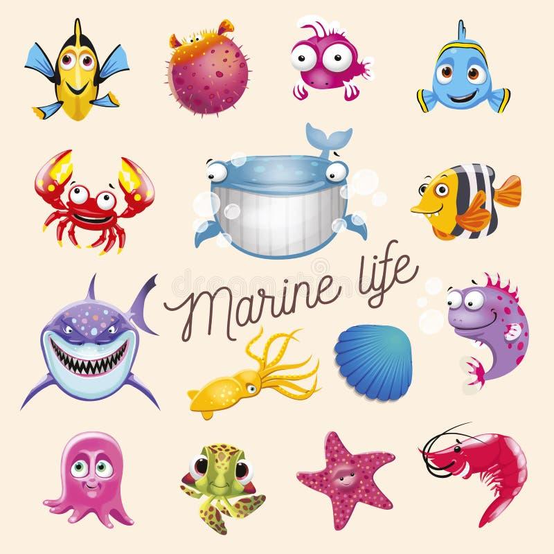 Morski życie Kreskówki zabawy oceanu i morza zwierzęta ustawiający Wektorowa ilustracja, odizolowywająca na białym tle ilustracja wektor