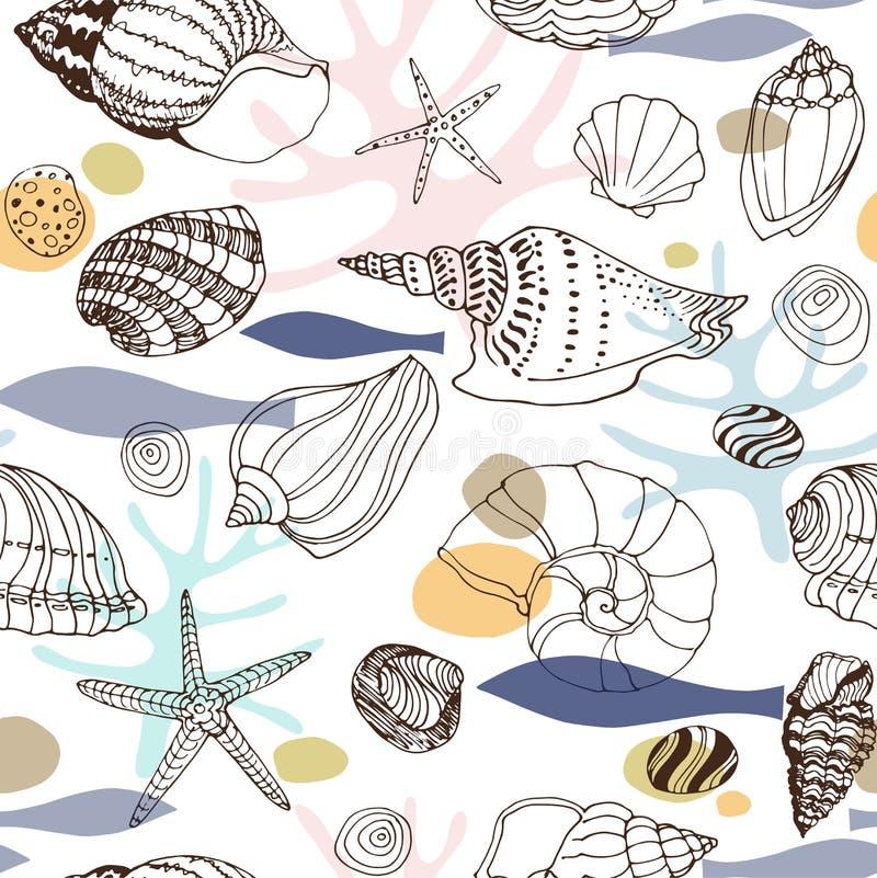 Morski abstrakcjonistyczny bezszwowy wzór z ręki rysującymi seashells obrazy royalty free