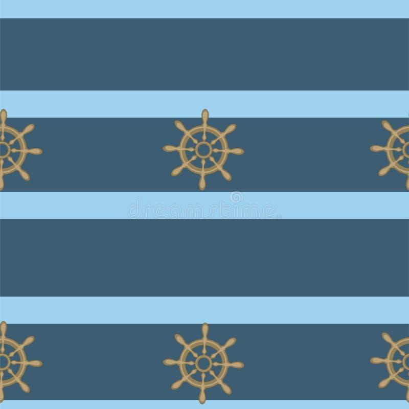 Morski bezszwowy wzór z handwheels i błękitnym lampasem r?wnie? zwr?ci? corel ilustracji wektora royalty ilustracja