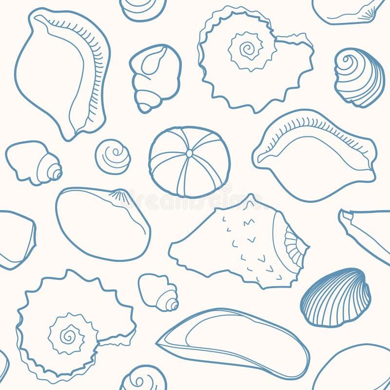 Morski bezszwowy wzór z skorupami ilustracja wektor