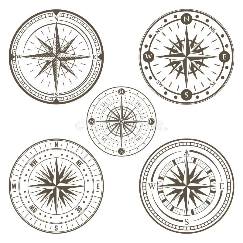 Morski cyrklowy kreskowej sztuki set ilustracja wektor