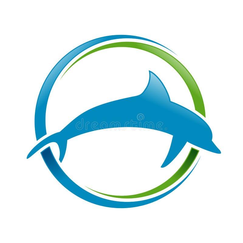 Morski delfin Błękitnej zieleni Swoosh symbolu Kółkowy projekt ilustracji