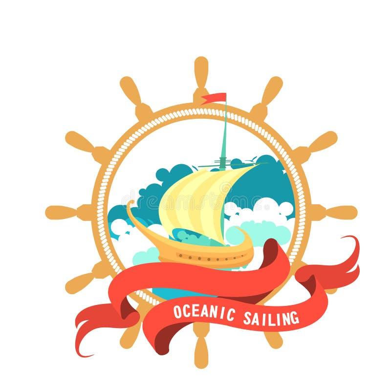 Morski emblemat na czarnym tle royalty ilustracja