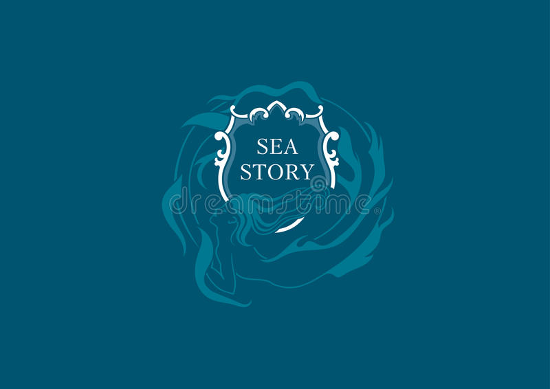 Morski emblemat syrenki round osłona royalty ilustracja