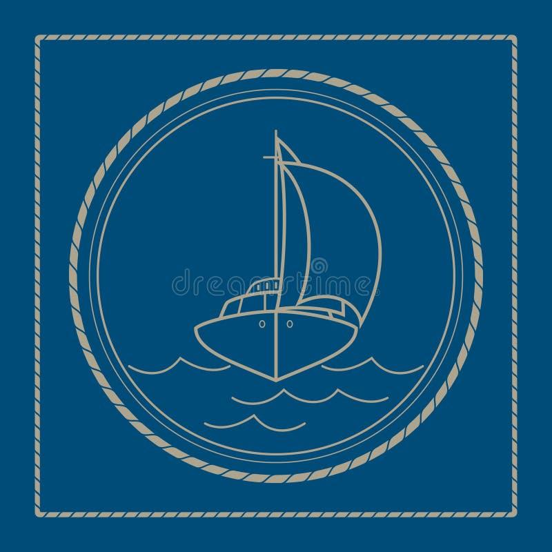 Morski emblemat z jachtem, żaglówka ilustracji