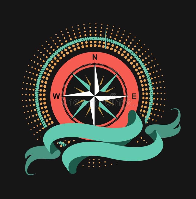 Morski emblemata windrose royalty ilustracja