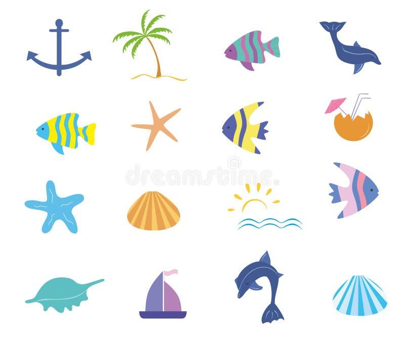 Morski ikona wektoru set ilustracji