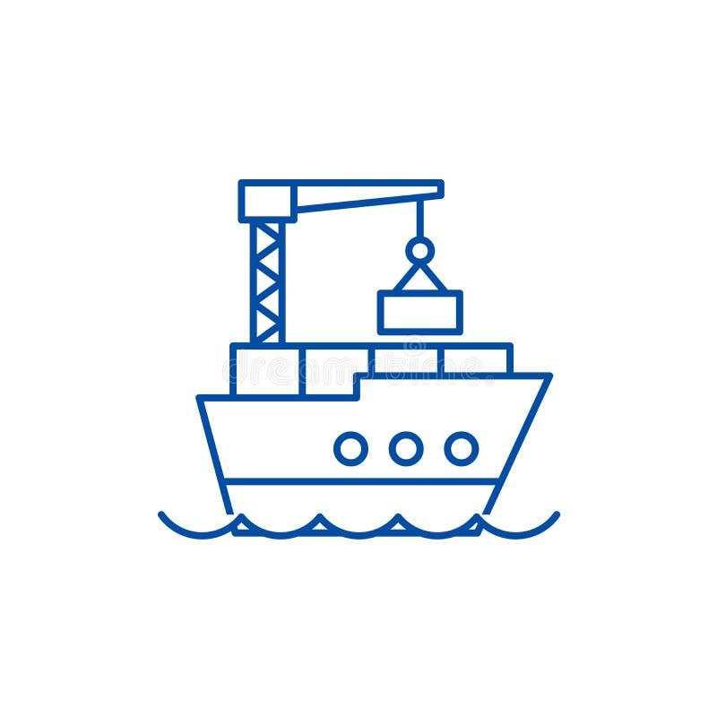 Morski logistyki linii ikony poj?cie Morskiej logistyki płaski wektorowy symbol, znak, kontur ilustracja ilustracja wektor