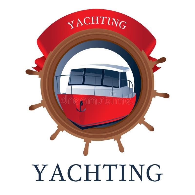 Morski logo z sterem, jachtem i faborkiem, ilustracja wektor