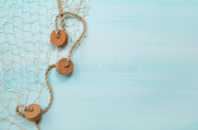 Morski nautyczny błękitny i turkusowy drewniany tło z fi fotografia royalty free