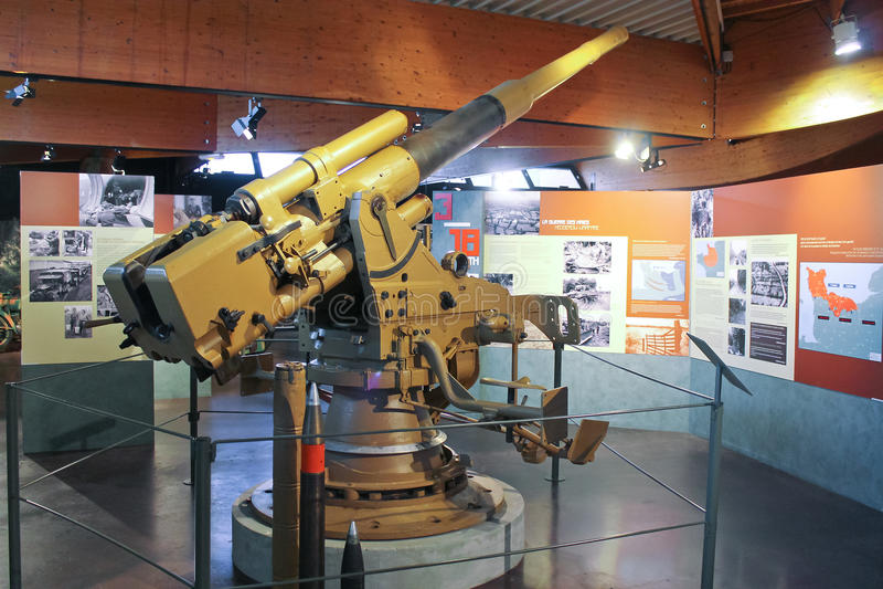 Morski pistolet przy muzeum bitwa Normandy. obraz royalty free