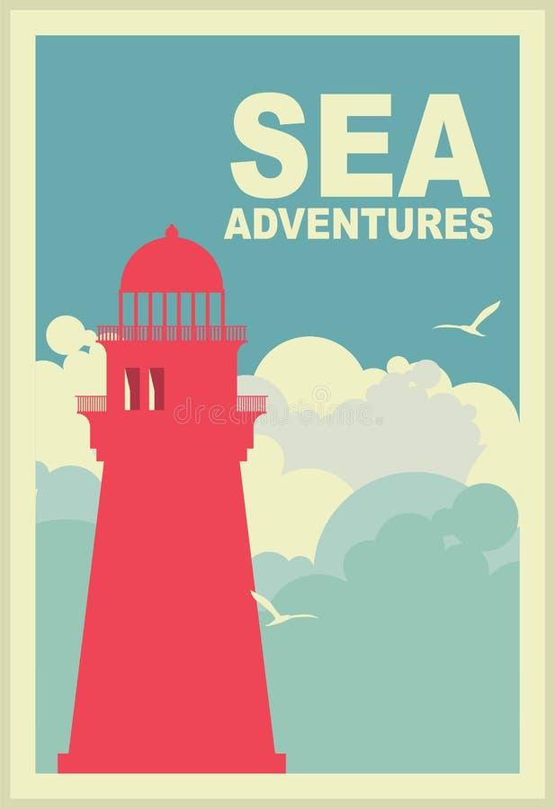 Morski plakat z latarnią morską royalty ilustracja