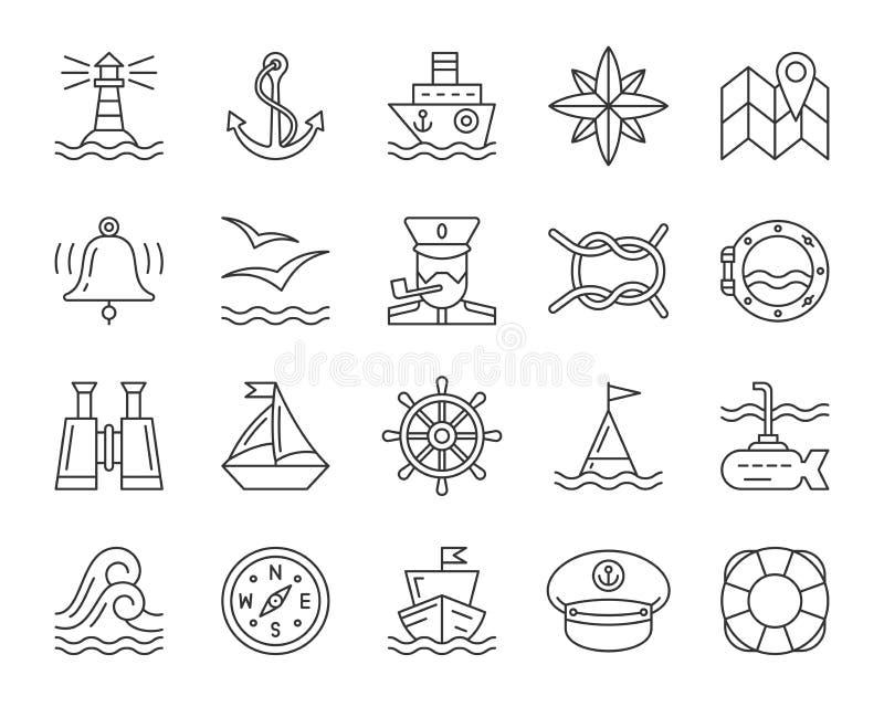 Morski prosty czerni linii ikon wektoru set ilustracji