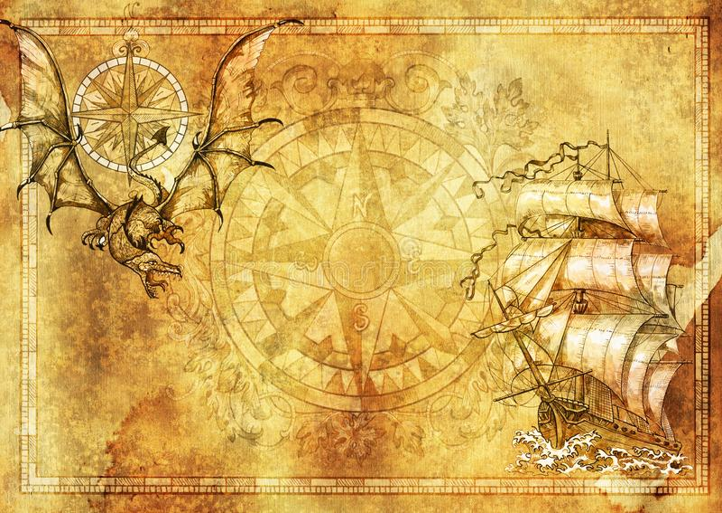 Morski pusty sztandar z kopii przestrzenią, fantazja smok, stara żaglówka na tekstury tle ilustracji