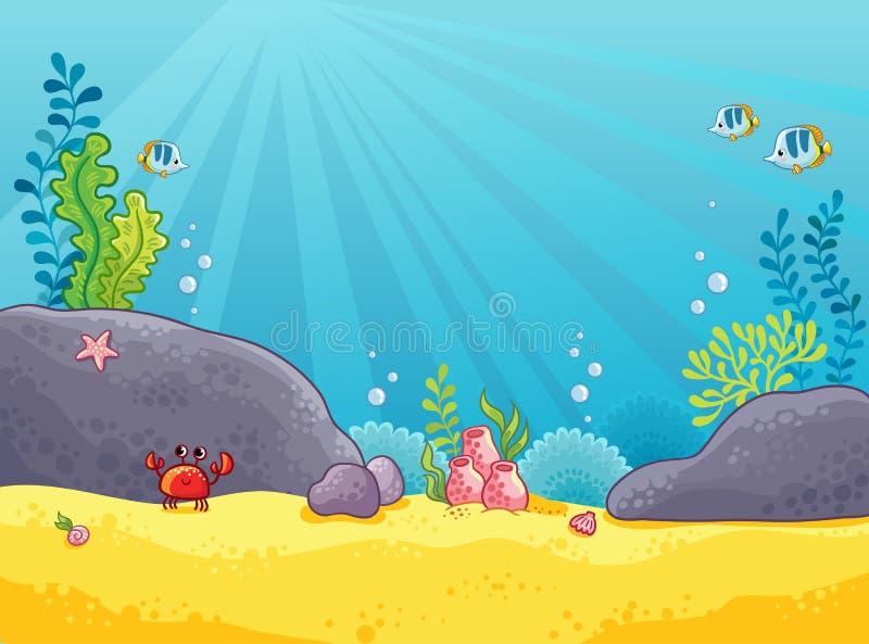 Morski tło Wektorowa ilustracja podwodny świat royalty ilustracja