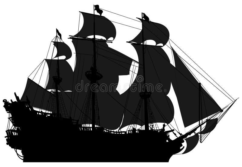 Morski temat, sylwetki żaglówka ilustracja wektor