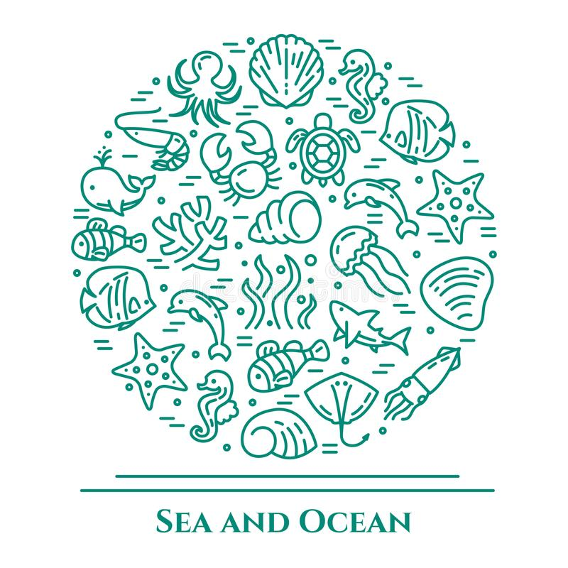 Morski tematu seledyn i biały sztandar Piktogramy ryba, skorupa, krab, rekin, delfin, żółw, inne denne istoty royalty ilustracja