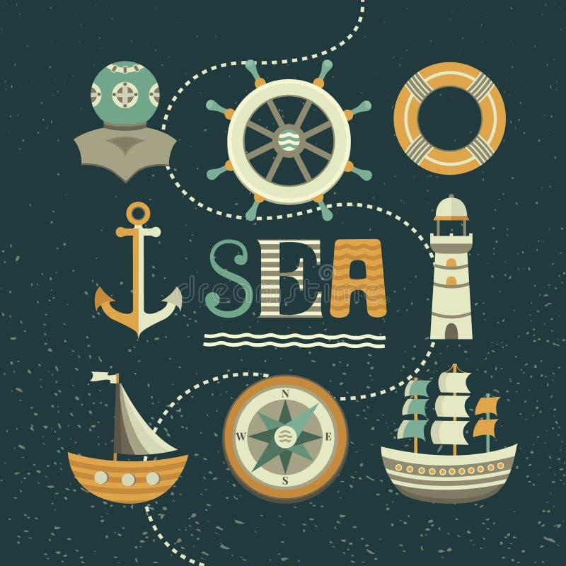 Morski ustawiający ikony ilustracja wektor
