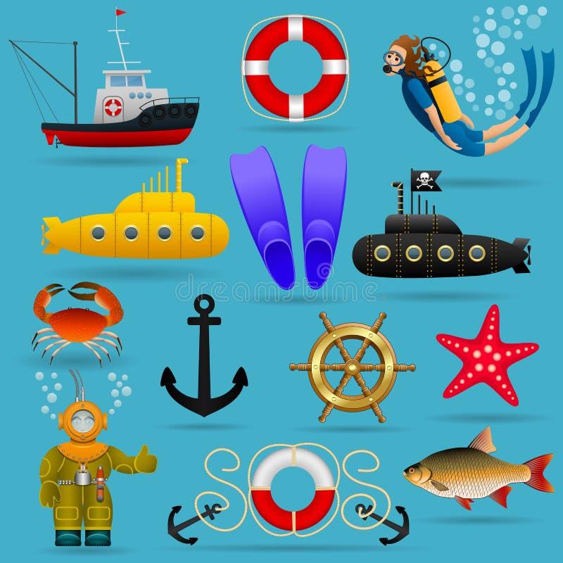 Morski ustawiający przedmioty i charaktery Morscy zwierzęta, woda transport, wyposażenie i ludzie pod wodą, wektor ilustracji