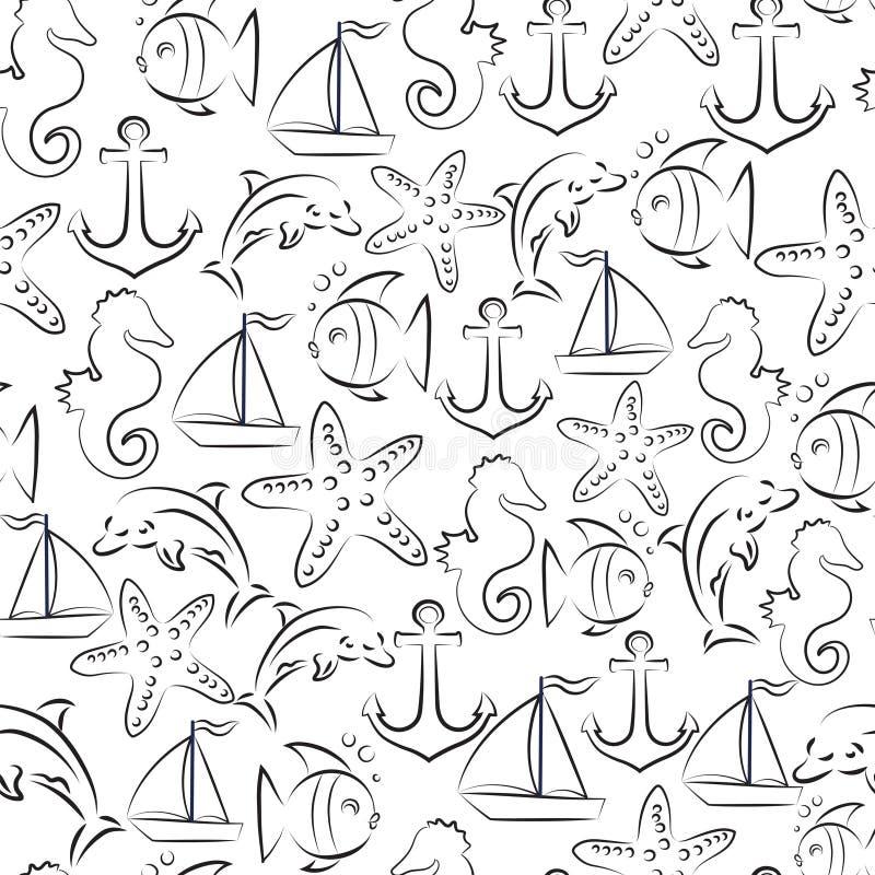 Morski wektorowy bezszwowy ilustracja wektor