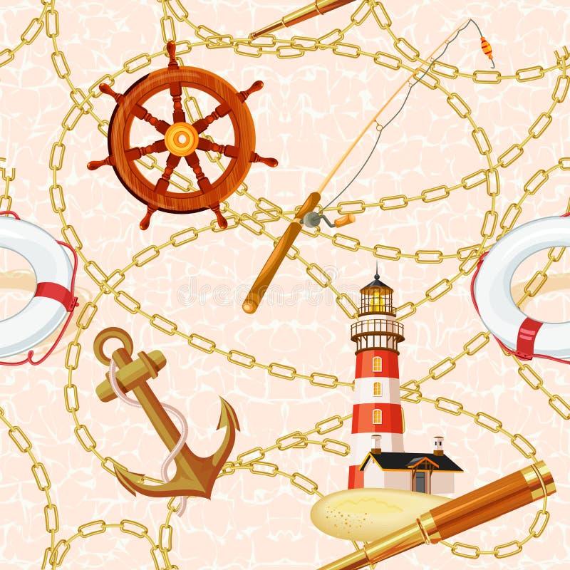 Download Morski wektorowy tło ilustracja wektor. Ilustracja złożonej z bezszwowy - 53777360