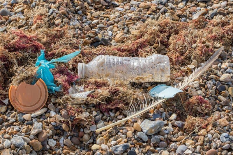 Morski zanieczyszczenie Plastikowa butelki filiżanka, torba mieszający z naturą i myliśmy w górę plaży na zdjęcia stock