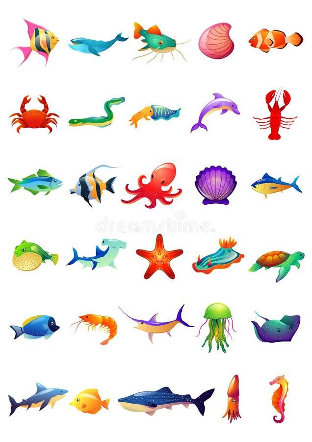 30 Morskich zwierząt Ustawiających - Jaskrawy Barwiony ilustracja wektor