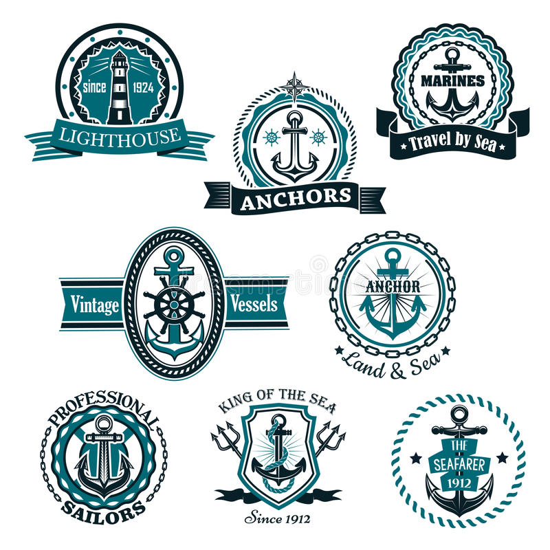 Morskie i nautyczne heraldyczne wektorowe ikony ustawiać ilustracji