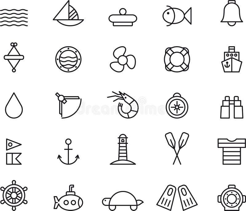 Morskie ikony ilustracja wektor