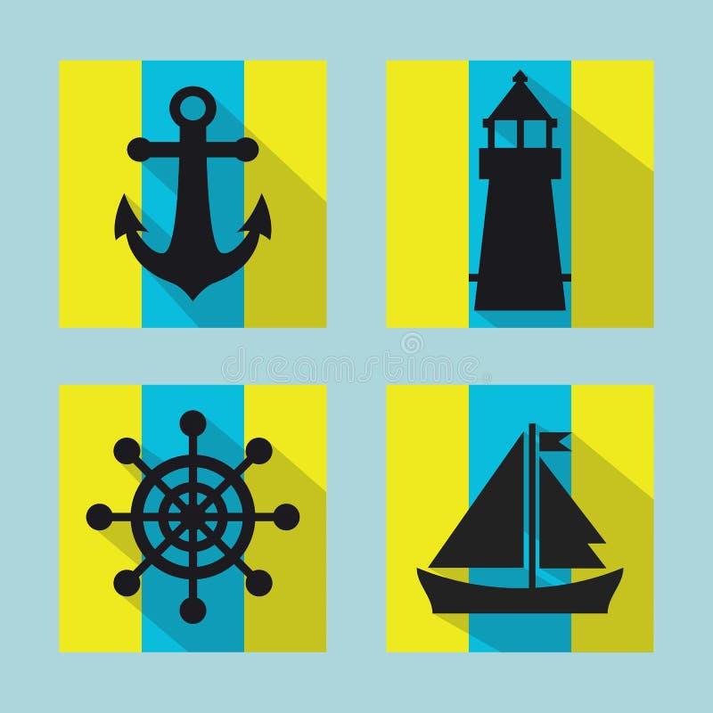 Morskie ikony ustawiać z długim cieniem ilustracja wektor