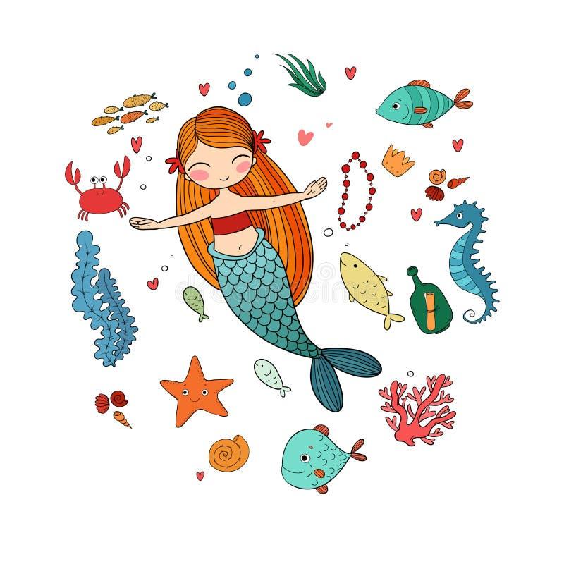 Morskie ilustracje Ustawiać Mała śliczna kreskówki syrenka ilustracja wektor