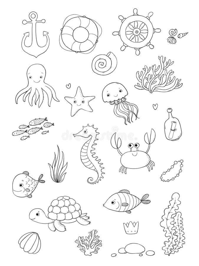Morskie ilustracje Ustawiać Małej ślicznej kreskówki śmieszna ryba, rozgwiazda, butelka z notatką, algi, różnorodne skorupy i kra royalty ilustracja