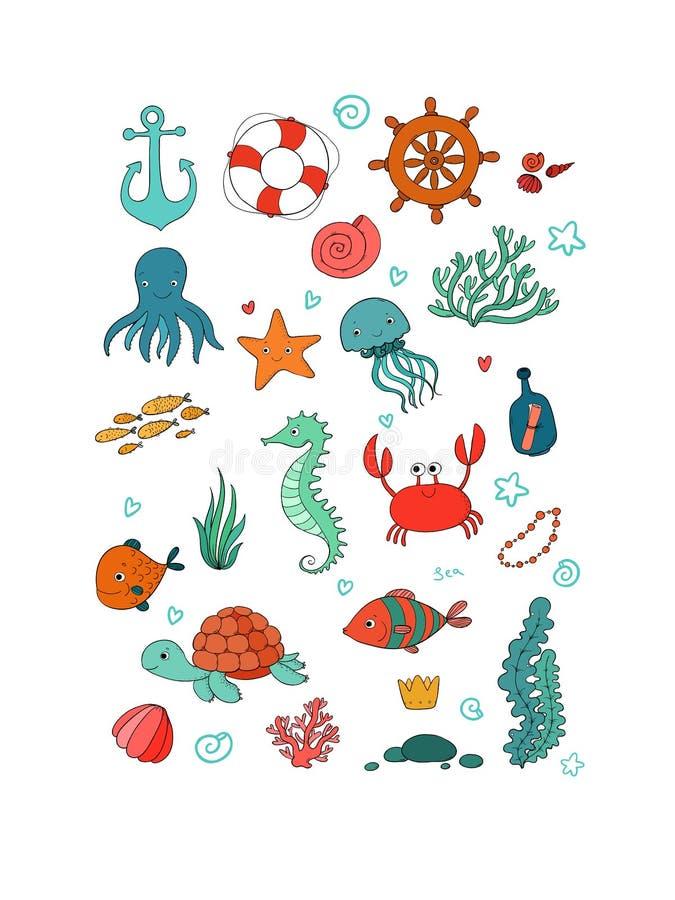 Morskie ilustracje Ustawiać Małej ślicznej kreskówki śmieszna ryba, rozgwiazda, butelka z notatką, algi, różnorodne skorupy i kra ilustracji
