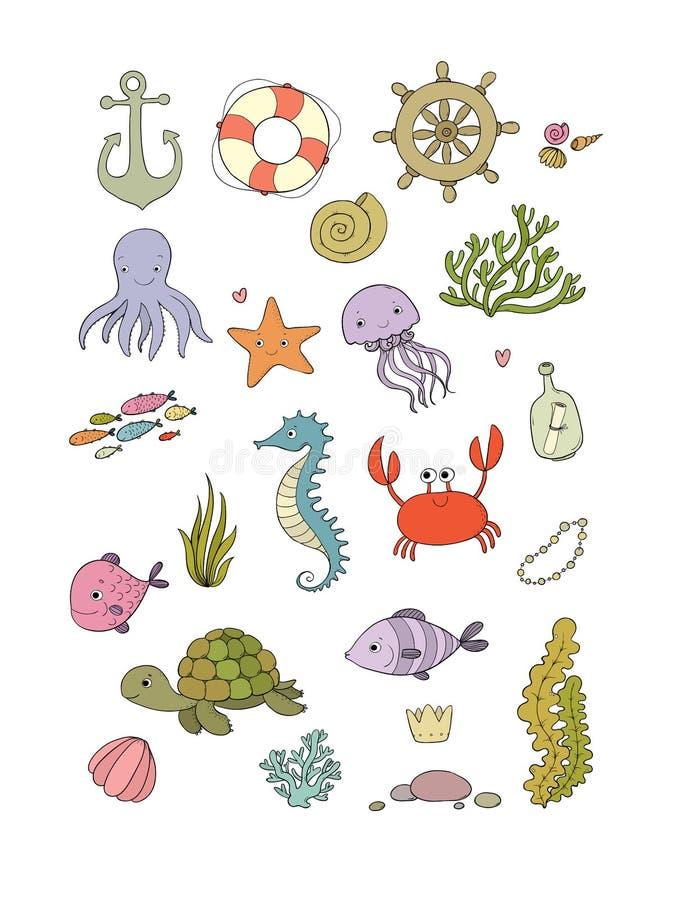 Morskie ilustracje Ustawiać wektor abstrakcjonistyczny abstrakci tła morza temat Na biały tle odosobneni przedmioty ilustracji
