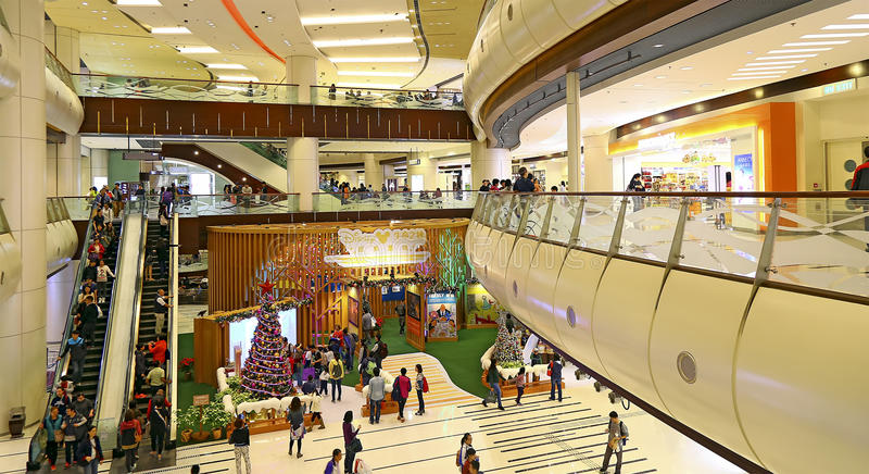 Morskie kwadratowe centrów handlowych bożych narodzeń dekoracje, Hong kong fotografia stock