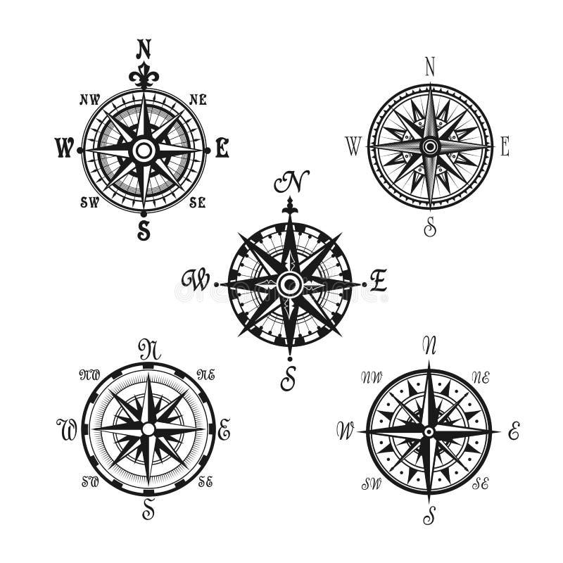 Morskie lub nautyczne cyrklowe nawigacja wektoru ikony ilustracja wektor