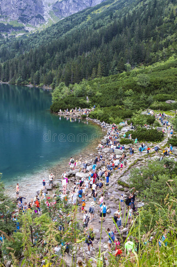 Morskie Oko lake in High Tatra Mountains, Poland stock image