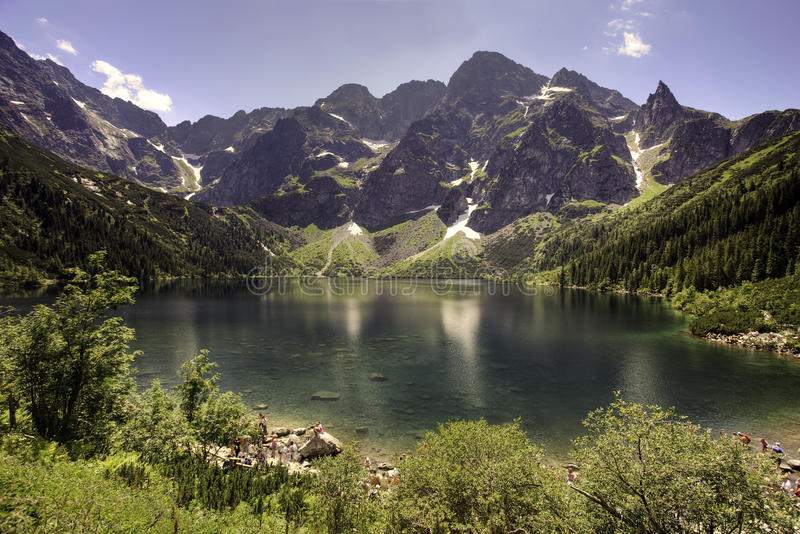 Morskie Oko lake in polish Tatra mountains. Morskie Oko is the largest and fourth deepest lake in the Tatra Mountains. It is located in the Lesser Poland royalty free stock images