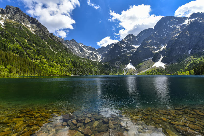 Morskie oko lake, Sea eye, Zakopane, Poland. Morskie Oko (Sea Eye) is the largest and fourth deepest lake in the Tatra Mountains. It is located deep within the royalty free stock photos