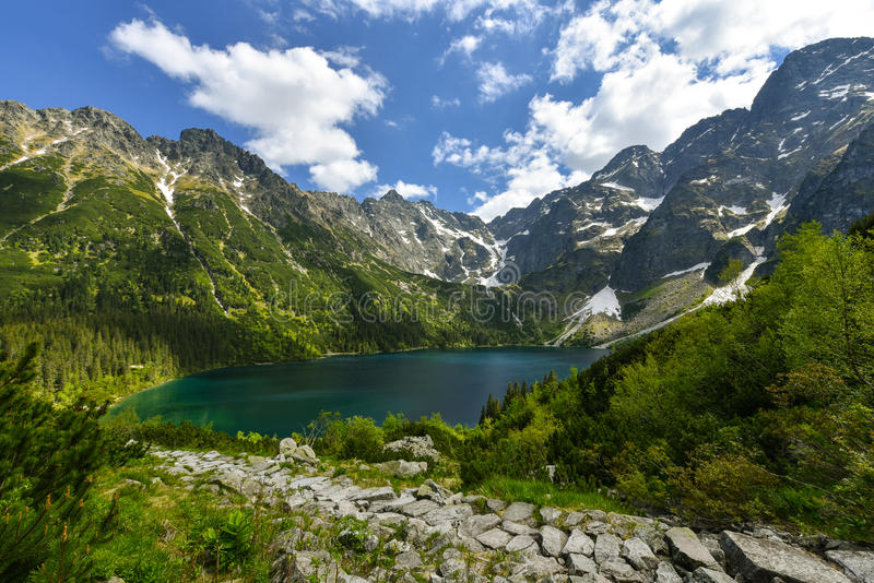 Morskie oko lake, Zakopane, Poland. Morskie Oko (Sea Eye) is the largest and fourth deepest lake in the Tatra Mountains. It is located deep within the Tatra stock images