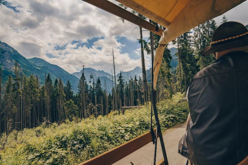 Morskie Oko, Poland, 05/07/2019 Beautiful amazing view from the cart, mountains and pine forest stock photo