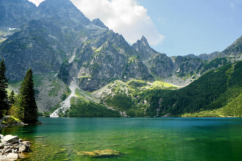 Morskie Oko in polish Tatra mountains. Morskie Oko is one of the most popular lakes in the Tatras, Polish mountains royalty free stock photo