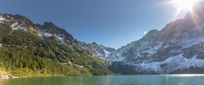 Morskie Oko See in Tatra-Bergen in Polen Hoher Gebirgslandschaft stockfotografie