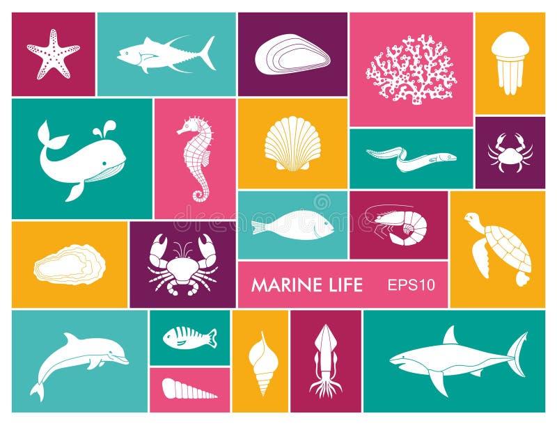 Morskiego życia ikona ustawiająca w mieszkanie stylu ilustracji