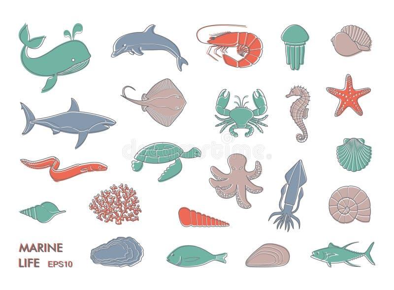 Morskiego życia ikony ilustracji